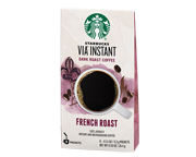 STARBUCKS CAFE VIA INSTANTANEO FRENCH ROAST ARABICA DARK 8 PACK